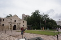 Interesting contrast of the historic Alamo being towered over by modern hotels.