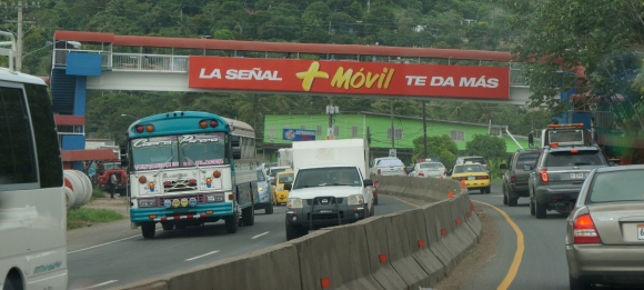 There is advertising everywhere. This overpass promotes Mas Movil, one of the 2 cellular providers in Panama.