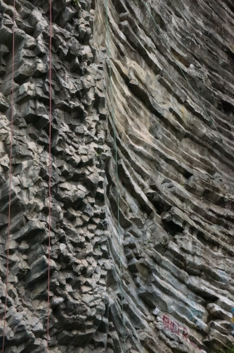 A super cool looking rock formation. You can see the ropes where for a couple of bucks, you can do some rock climbing.