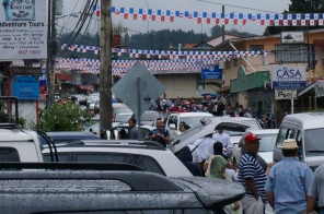 This is a glimpse of the people and cars heading out of Boquete.