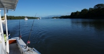 Clear and blue sky and water as we head out from the launch.