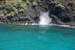 One of the islands has this blow hole. The spray can be much higher when the current is greater.