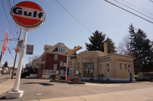 Dunkle's Gulf Service Station, done in art deco style, was built in 1933.