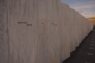 At the end of the walk is The Wall of Names. It's an accordion-like structure made of marble. Each panel has engraved on it one of the names of the people from Flight 93.