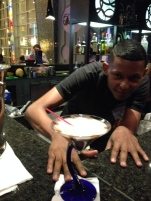 One of our friendly bar tenders and my chocolate martini.