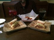 We split a HUGE sandwich and some chicken wings. All very yummy!