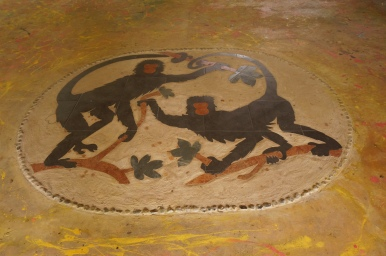 Artwork on the floor of the visitor area